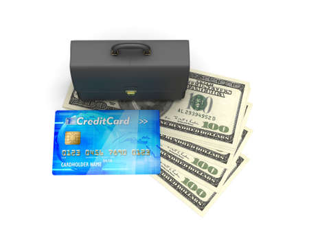 Business briefcase, credit card and dollar bills isolated on white photo