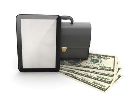 luggage carrier: Tablet computer, leather briefcase and dollar bills