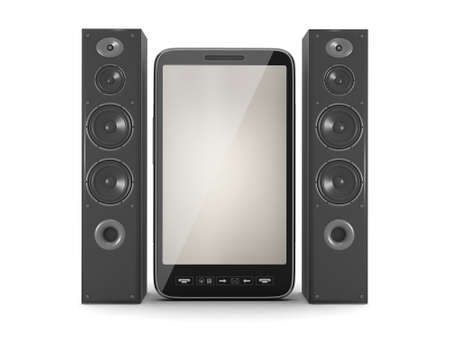 Loudspeakers and mobile phone on white background photo