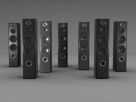 sub woofer: Large audio speakers on gray background