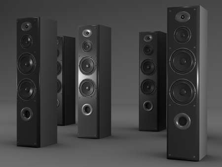 acoustic systems: Large audio speakers on gray background