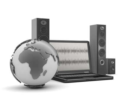 Laptop, audio speakers and earth globe Stock Photo - 26092970
