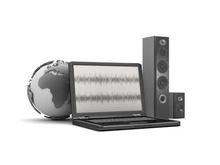 Laptop, earth globe and sound system Stock Photo - 26092971
