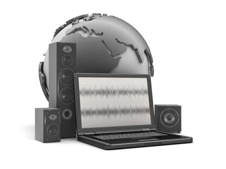 Home theatre system, laptop and earth globe Stock Photo - 26092972