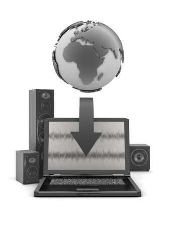 Earth globe, laptop and large sound system Stock Photo - 26092973