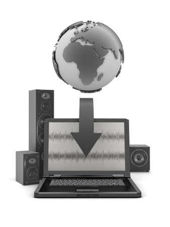 sono: globe terrestre, un ordinateur portable et bon syst�me sonore