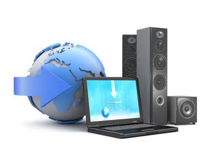 Audio speakers, laptop and earth globe as downloadable music symbol Stock Photo