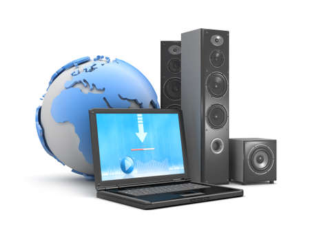 downloadable: Symbol of downloadable music - laptop, speakers and earth globe