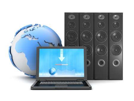 globe theatre: Audio speakers, earth globe and laptop on white background Stock Photo