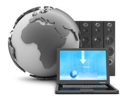 Earth globe, laptop and large sound system on white background photo