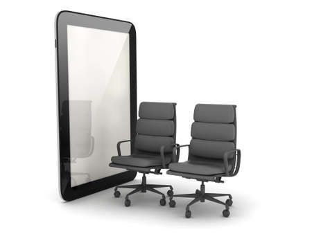 syndicate: Two office chairs and tablet computer Stock Photo