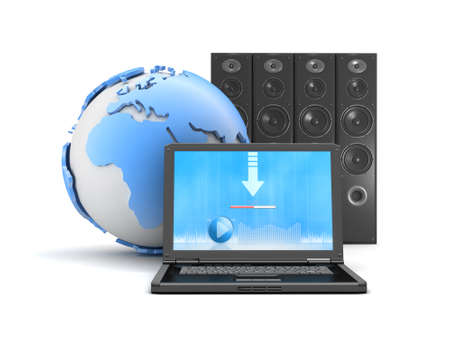 Download music from internet - laptop, sound system and earth globe photo