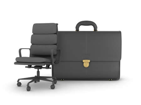 luggage carrier: Leather business briefcase and office chair Stock Photo