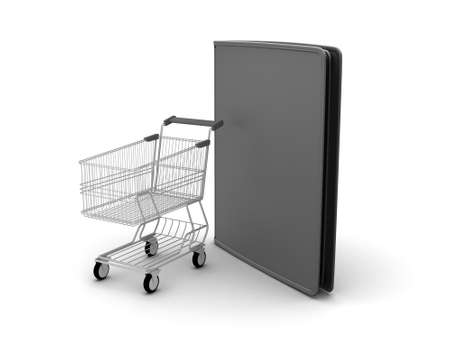 Shopping cart and black leather wallet on white background photo