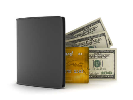 greenbacks: Leather wallet, dollars and credit card