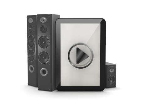 sono: Syst�me de son - Haut-parleurs audio et tablette Banque d'images