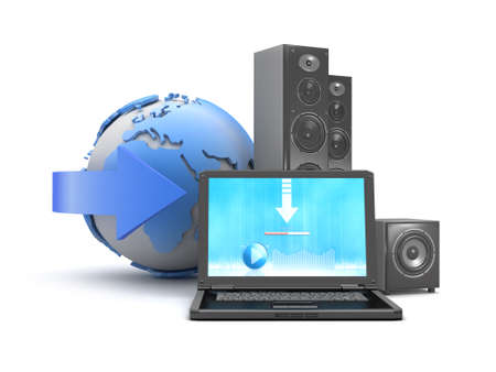 globe theatre: Music from internet - concept illustration