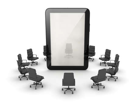 syndicate: Office chairs around the tablet computer
