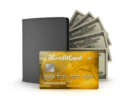 notecase: Golden credit card, dollar bills and leather wallet