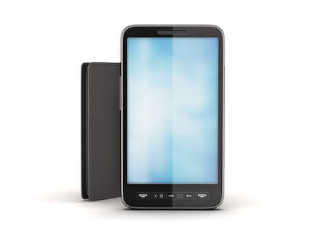 notecase: Cellular phone and black leather wallet Stock Photo