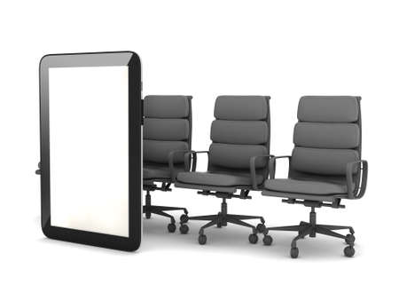 Tablet computer and office chairs on white background photo