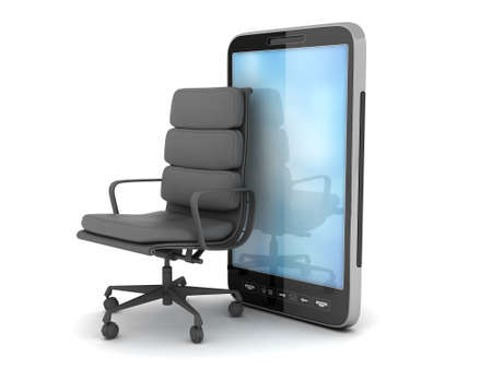 Modern cell phone and office chair on white background photo