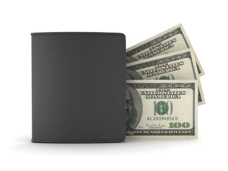 billfold: Dollar bills and black leather wallet on white background