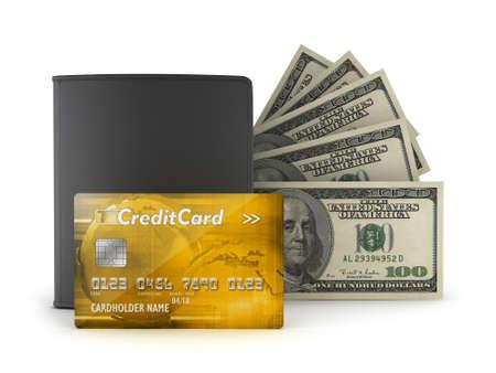 greenback: Credit card, bank notes and wallet