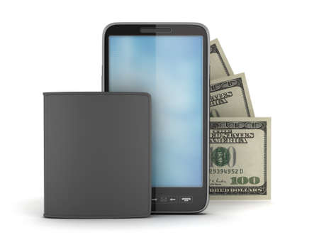 Cellular phone, bank notes and leather wallet photo