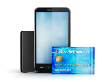 Credit card, cellular phone and wallet photo
