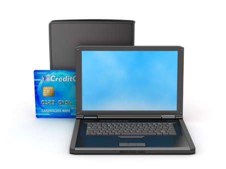 palmtop: Laptop, credit card and black wallet  Stock Photo