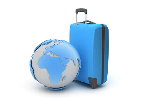 Earth globe and suitcase as travel symbols photo