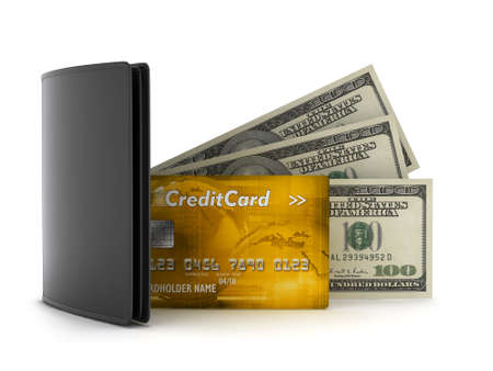 greenbacks: Bank notes, credit card and leather wallet on white background Stock Photo