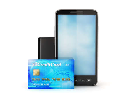 Mobile phone, credit card and leather wallet isolated on white photo