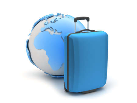 recess: Blue suitcase and earth globe on white background