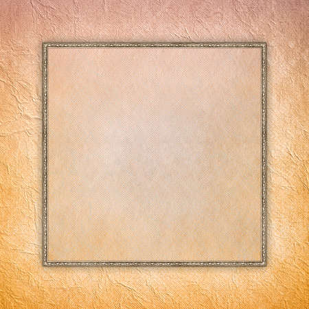 double page: Blank sheet in picture frame on crumpled paper background Stock Photo