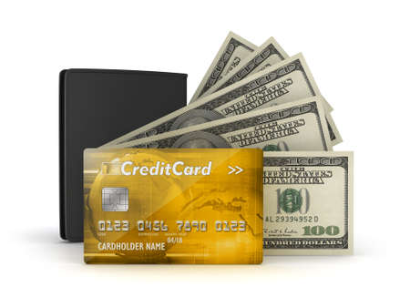 Bank notes, credit or debit card and leather wallet photo