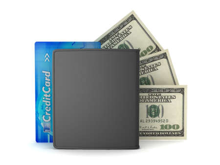 Leather wallet, credit card and dollar bills on white background photo