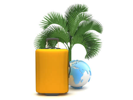 Travel bag and earth globe under a palm tree photo