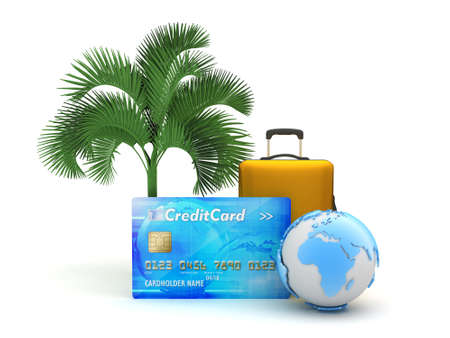 Credit card, travel bag, earth globe and palm tree  photo