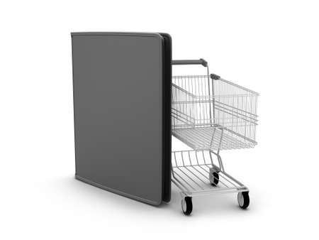 notecase: Shopping cart and black leather wallet on white background