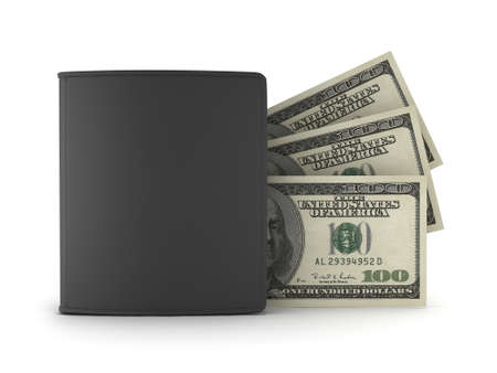 Dollar bills and black leather wallet on white  photo