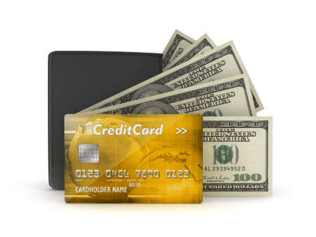 greenback: Money concept - bank notes, credit card and wallet