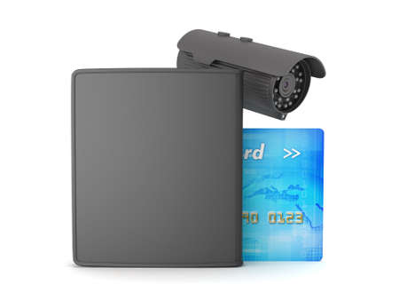 billfold: Credit card, leather wallet and video surveillance camera