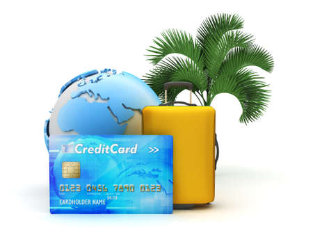 repose: Pay for tropical holiday by credit card - concept illustration