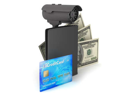 bank records: Safety money - bills, credit card, wallet and video surveillance camera