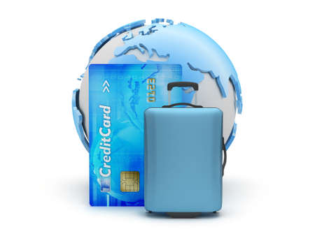 Travel bag, credit card and earth globe photo