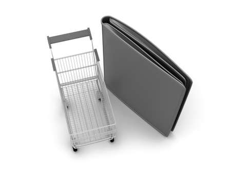 billfold: Shopping cart and black leather wallet on white background