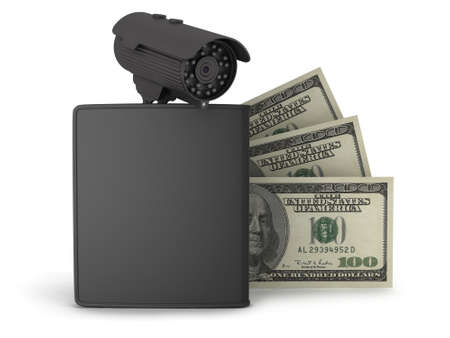 billfold: Black wallet, dollar bills and video surveillance camera Stock Photo