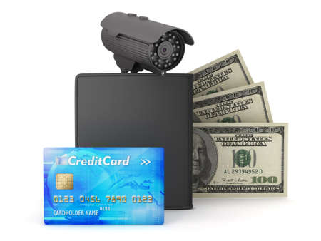bank records: Video surveillance camera, dollars, credit card and wallet on white background